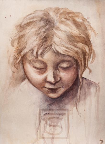 "Parmigianino Study - ""A girl's head"""